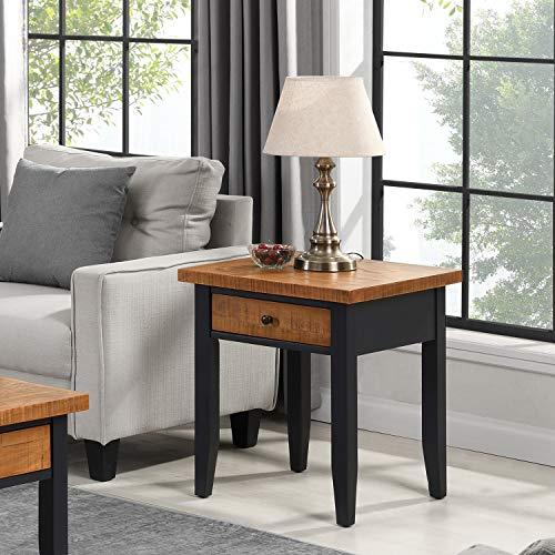 B&D home - Beistelltisch, Nachttisch, Sofatisch, telefontisch, Couchtisch, für Wohnzimmer, Schlafzimmer, Retro, Kieferholz massiv, Schwarz Braun, mit 1 Schublade, 50 x 50 x 60 cm