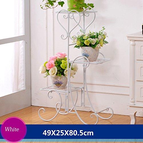 Cadre en fleur de fer Cadre de chêne en bois de plancher Ensemble de salon intérieur et extérieur Salon de fleurs en balcon 3 couches (49 * 25 * 80,5 cm) (Couleur : Blanc)