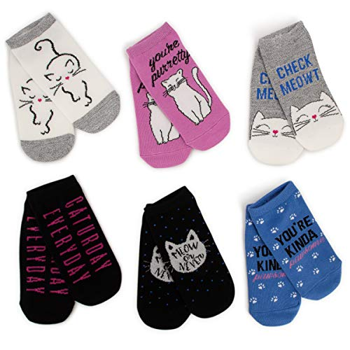 Sof Sole (6 Pairs) No Show Women's Novelty Fun and Cute Pun Socks, Low Cut Ankle