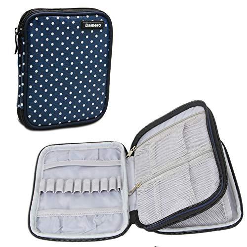 Damero Étui aux accessoires de crochet-- Petit sac organisateur à outils de crochet,Qualité haute,Matière imperméable,Léger et Facile à porter(pas d'accessoires inclus), Bleu à pois