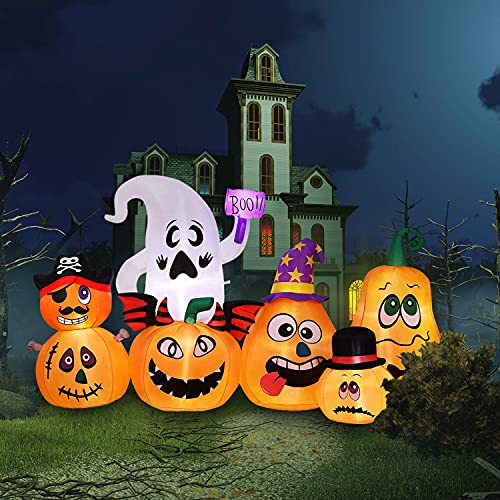 Halloween Inflatables Halloween Decorations Outdoor – 7.5FT Long Halloween Pumpkin Decorations with Ghost Halloween Yard Decorations with Build-in LED, Blow up Halloween Decor for Front Yard, Lawn