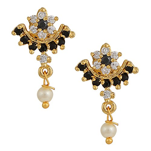 Hikaro Indian Bollywood Designer 18 k Gold Plated Traditional CZ Stud Earrings Jewelry for Women and Girls, Black