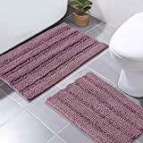 NICETOWN Purple Bath Rugs Ultra Thick and Soft Chenille Plush Striped Floor Mats Bath Rug with Non-Slip Backing Microfiber Hand Tufted for Door Living Room Entryway (Mauve, Pack 2-20' x 32'/17' x 24')