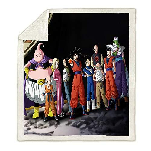 WTTING Decke Anime Dragon Ball, Motiv Goku Super Saiyan Anime 3D bedruckt, Flanell, Reisekissen für Erwachsene (22,100 x 140 cm)