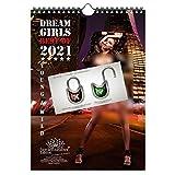 Calendario 2021 (21,0 x 29,7 cm) ragazza erotica sexy Dreamgirls - Set con 3 parti: 1x calendario, 1x cartolina di Natale e 1x biglietto di auguri (3 parti in totale)