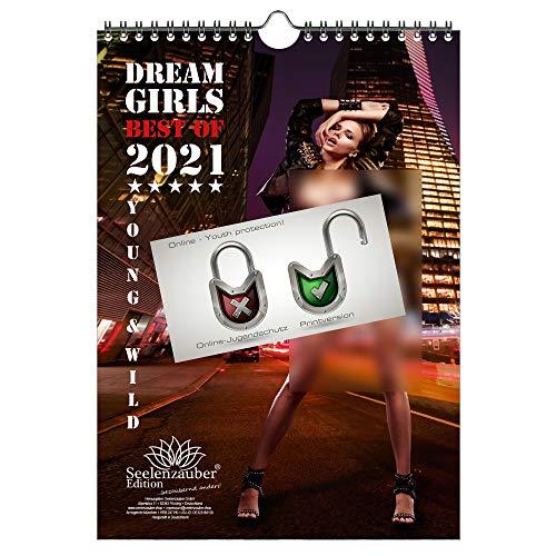 Calendario de pared 2021 (21,0 x 29,7 cm) chica erotica sexy Dreamgirls - Contenido del set de regalo: 1x calendario, 1x tarjeta de Navidad y 1x tarjeta de felicitación (3 partes en total)