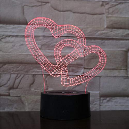 3D Acryl Double Love 2 Touch Control Home Dekoration LED Nachtlicht