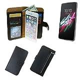 K-S-Trade Schutzhüll Für Alcatel One Touch Idol 3 5,5 Zoll Schutz Hülle Portemonnaie Hülle Phone Cover Slim Klapphülle Handytasche E Handyhülle Schwarz Aus Kunstleder (1 STK)