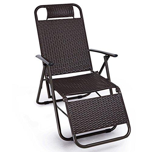 XUQIANG Liegestuhl Rattan klappstuhl büro mittagspause Stuhl Freizeit Stuhl Camping Garten Balkon Sonne strandkorb ergonomischer hoher Last tragender Sicherheit geschmackloser Stuhl Klappstuhl