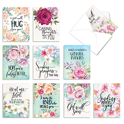 The Best Card Company - 10 Flower Get Well Soon Cards (4 x 5.12 Inch) - Floral Feel Better Assortment - Get Well Florals M4214GWG-B1x10