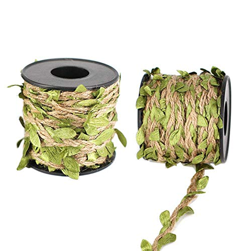INTVN Natural Jute Twine with Green Leaves Artificial Vines Plant Garland Burlap Leaf Ribbon for Wedding Home Garden Decoration 10m 2 Rolls