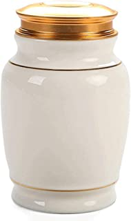 RMXMY Funeral Urn - Small Urns for Ashes Keepsake and Mini Cremation Urns for Ashes Adult - Brass Urn & Hand Engraved - Display Burial Urn at Home or Office