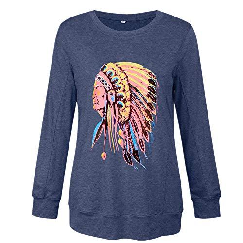 Xmiral Bluse Damen Lange Ärmel Rundhals Sweatshirt Muster Drucken Tops Tops T-Shirt Nationaler Stil Slim Fit Streetwear Pullover(Blau,L)
