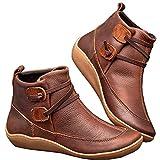 WZIKAI Womens Leather Lace Up Low Heel Flat Ankle Boots Comfort Waterproof Walking Hiking Zipper Shoes (Khaki, 08)