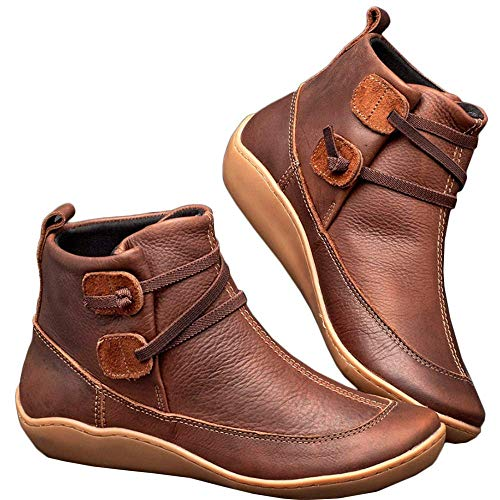 WZIKAI Womens Leather Lace Up Low Heel Flat Ankle Boots Comfort Waterproof Walking Hiking Zipper Shoes (Khaki, Numeric_7)