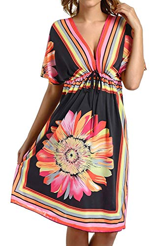 Avacoo Damen Strandponcho V Ausschnitt Blumen Sommerkleid Midi Kleid Pareos Marokko Schwarz