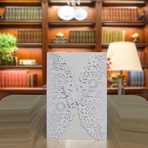 UNIQLED Pack of 25 Laser Cut Lace Invitation Cards Kit for Wedding Bridal Shower Engagement Birthday Party with Envelopes and Printable Paper (White Folded Butterfly)