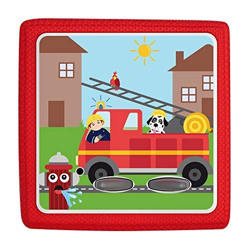 kwmobile Aufkleber Folie kompatibel mit Toniebox - Sticker Schutzfolie selbstklebend - Feuerwehr Auto Mehrfarbig Rot Hellblau