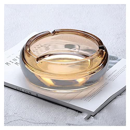 zlw-shop Cenicero Cenicero de Cristal sin Cubierta Inicio/Salón/Mesa de Centro/Oficina/Asegra 7 Pulgadas Redondo Bandeja de cigarros Cenicero de Tabaco (Color : C, Size : Large)