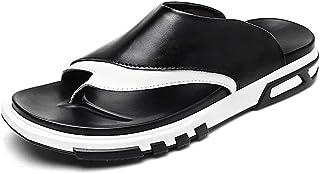 شباشب أنيقة للرجال كاجوال سهلة الارتداء من جلد PU كلاسيكي اللون مطابقة أعلى القاع (اللون: أسود، الحجم: 43 EU) DIAOZHATIAN