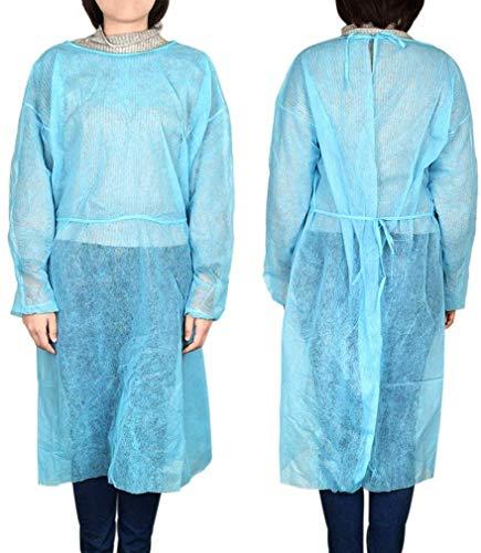 XIAOYU 100pcs Einweg-OP-Mantel dünn und leicht Staub Blaue Kleidung Einmaliger Schürzen Medical Kleidung Reinraumbekleidung