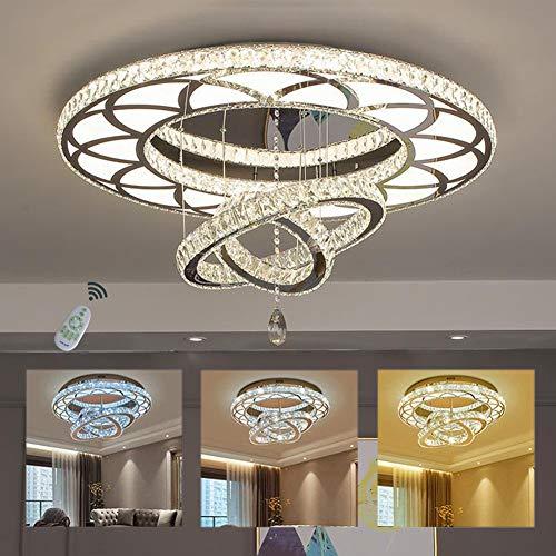 Deckenlampe Modern LED 3 Ring Luxus Kristall Einstellbare Deckenleuchte Dimmbar Edelstahl Kronleuchter Schlafzimmer-Lampe Wohnzimmer-Leuchte Esszimmer-Licht mit Fernbedienung, Ø60cm 108 Watt