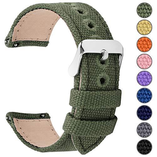 Fullmosa Uhrenarmband 24mm in 8 Farben, Stoff Leinen mit Mattleder Uhrenarmband Uhr Ersatzband mit Schnellverschluss für Mann&Damen,Armeegrün 24mm