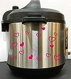 Cute Hearts Art Decal Sticker - Pink Vinyl Decal Sticker for Instant Pot