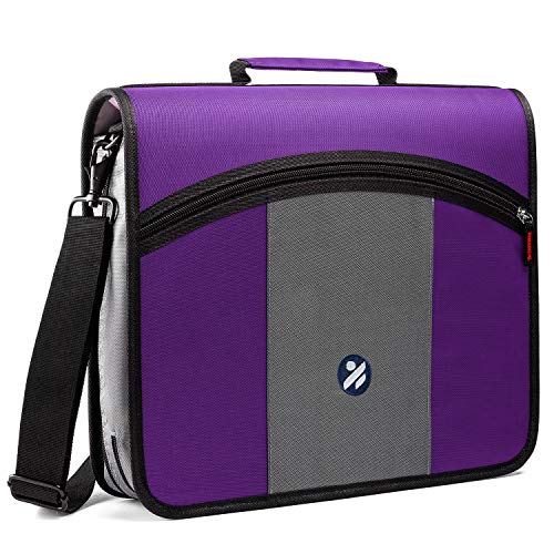 Round Ring 3-Inch Zipper Binder, Designed with Expanding Files and Handle, Shoulder Strap Included, Purple
