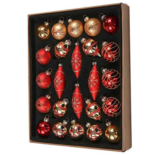 Valery Madelyn 24pcs Bolas de Navidad de Vidrio de 6-10.5cm, Adornos de Navidad para Árbol, Bolas de Navideños Decoración para Colgante