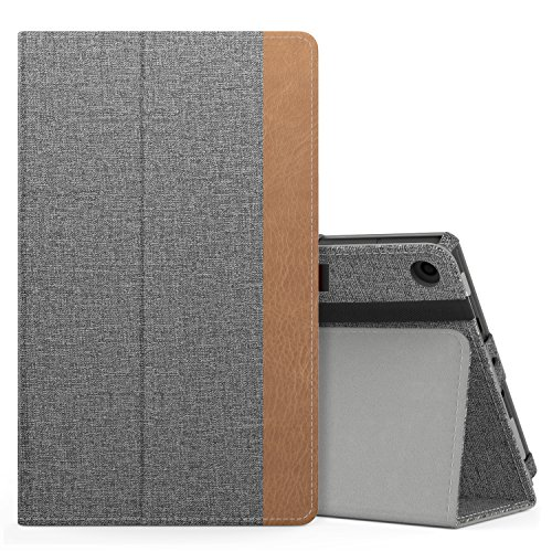 MoKo Hülle für All-New Amazon Fire HD 8 Tablet (7th und 8th Generation – 2017 und 2018 Modell) - Kunstleder Ständer Schutzhülle Smart Cover mit Stift-Schleife, Jeans Grau
