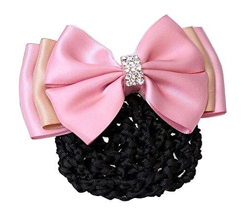 Ladies Beautiful Snood Net Barrette Hairnets Couverture de cheveux, Bow Pink #01
