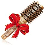 Meilleure brosse à cheveux ronde avec poils en sanglier naturels pour sèche-cheveux (4,5 cm) -...