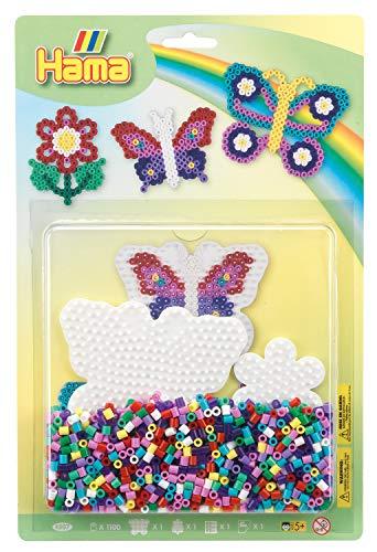 Hama 4207 Butterfly Large Pack Große Blister-Packung Schmetterling, Bügelperlen Midi, ca. 1100 Stück inklusive Stiftplatte und Zubehör, bunt, Einheitsgröße