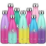 KollyKolla Botella de Agua Acero Inoxidable, Termo Sin BPA Ecológica, Botella Termica Reutilizable Frascos Térmicos para Niños & Adultos, Deporte, Oficina, (750ml Macaron Verde + Amarillo Claro)