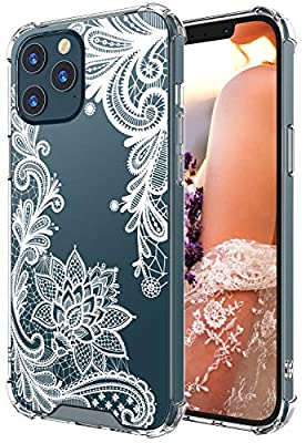 Cutebe Clear Case for iPhone 12 Pro Max, Shockproof Series Hard PC+ TPU Bumper Protective Case for iPhone 12 Pro Max 6.7 Inch 2020 Released White Floral Design for Women,Girls