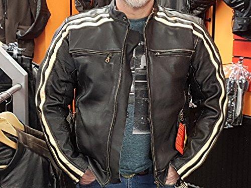 """Retro Schwarz Cafe Racer die """"Bonnie"""" 100% Bovine Leder Motorrad-Jacke CE Armoured–Elfenbein Streifen Gr. S, Schwarz – Schwarz - 7"""