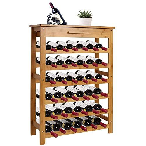 Kinsuite Bamboo Wine Rack Modular Wine Storage Holder Display Shelves for Storing Bottles at Home 36 Bottle Wine Rack Free Standing Floor 6 Shelves with Drawer