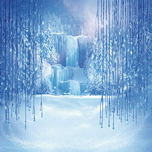 LYWYGG 8X8FT Ice and Snow White World Photography Backdrops Background Christmas Winter Frozen Snow Ice Crystal Pendant World for Children Photo Studio Props Backdrop CP-12-0808