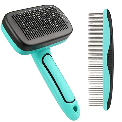 Purezento 2 Pieces Slicker Dog Brush and Comb, Pet Grooming Brush, Daily Use to Clean Loose Fur & Dirt, Great for Dogs and Cats With Medium Long Hair(Blue)
