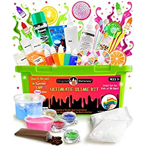 Original Stationery Ultimate Slime Kit: DIY Slime Making Kit with Slime Add Ins Stuff for Unicorn, Glitter, Cloud, Butter, Floam, More – Deluxe Slime Kits Gift for Girls and Boys (Green, 53pcs)