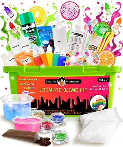 Original Stationery Ultimate Slime Kit: DIY Slime Making Kit with Slime Add Ins Stuff for Unicorn, Glitter, Cloud, Butter, Floam, More - Deluxe Slime Kits Gift for Girls and Boys (Green, 53pcs) 3