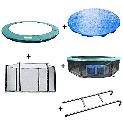 Greenbay Trampoline Vervanging Lente Cover Padding Pad & Veiligheid Net & Rok & Regenhoes & Ladder Bundel