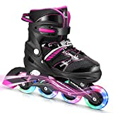 Hawkeye Inline Skates for Kids and Adults with Light Up Wheels, Adjustable Roller Skates for Boys Girls and Youth, Men and Women