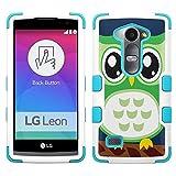 lg Leon LTE case - [Green Owl](White/Teal) UNIQUITI(TM) Cell Phone Armor Cover [TuMax] Dual Layer Hybrid Hard Skin Guard Ultra Protective Shell (for lg Leon LTE Tribute 2 Destiny l21g Power l22c c40)