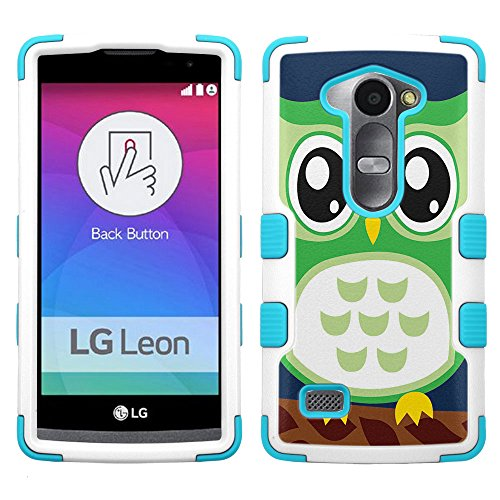 lg Leon LTE case - [Green Owl](White/Teal) UNIQUITI(TM) Cell Phone Armor Cover [TuMax] Dual Layer Hybrid Hard Skin Guard Ultra Protective Shell (for lg Leon LTE Tribute 2 Destiny l21g Power l22c c40)