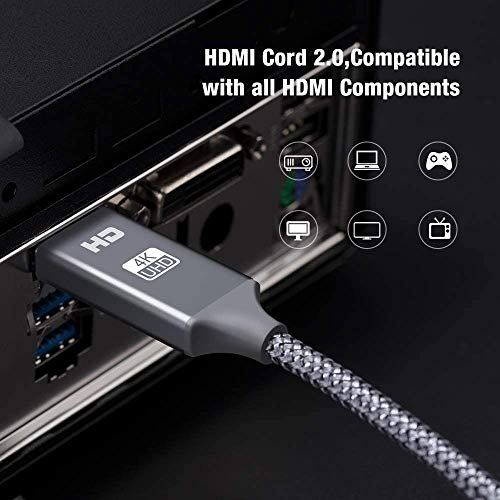 Mini DisplayPort to HDMI Cable, [4K@30Hz] Capshi Nylon Braid Thunderbolt to HDMI Cable, UHD High Speed Mini DP to HDMI Cord Compatible MacBook Air/Pro, Surfa   ce Pro/Dock 3Ft