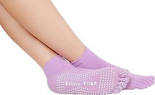 YiyiLai Women Cotton Ankle Socks Full Toe Non Skid Grips Yoga Pilates Socks