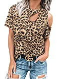 Dokotoo Womens Tops Summer Cute Leopard Print Short Sleeve Casual Loose Crewneck Cut Out Cold Shoulder Tops T-Shirts for Women Tunic Blouses Black L