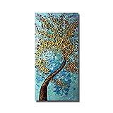 WZYYHH 100% Handgemaltes Ölgemälde Abstrakte Goldene Blume Baum Startseite Schmückt